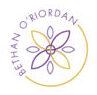 Purple and mustard flower logo